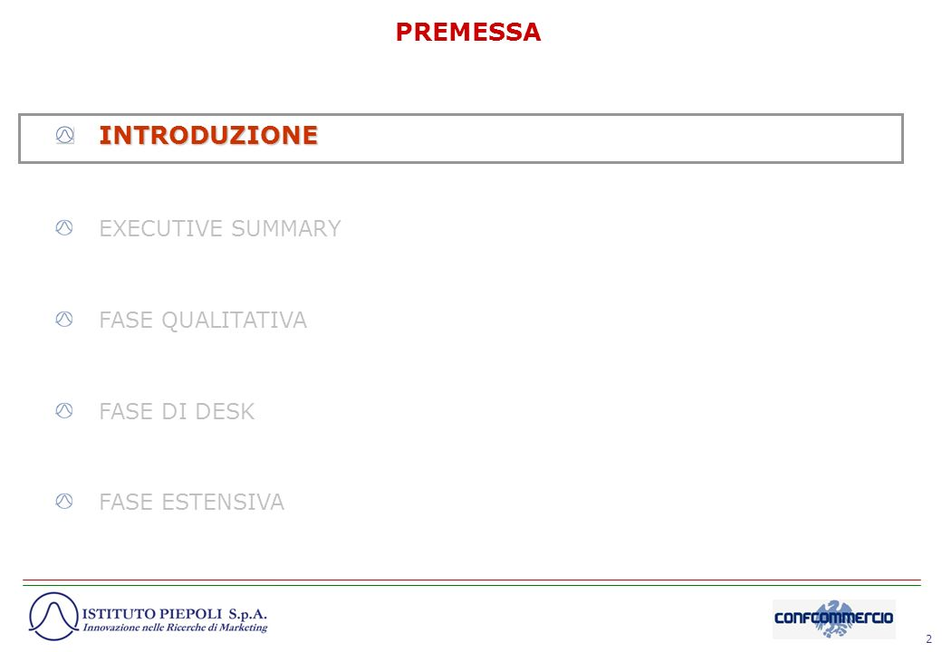 PREMESSA INTRODUZIONE EXECUTIVE SUMMARY FASE QUALITATIVA FASE DI DESK