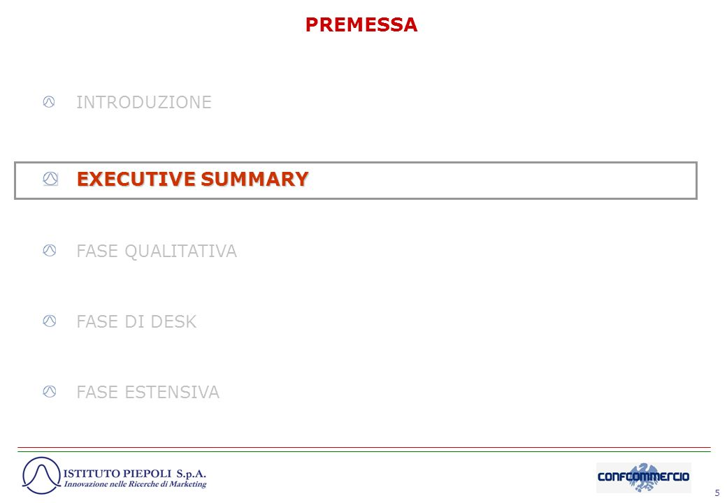 PREMESSA EXECUTIVE SUMMARY INTRODUZIONE FASE QUALITATIVA FASE DI DESK