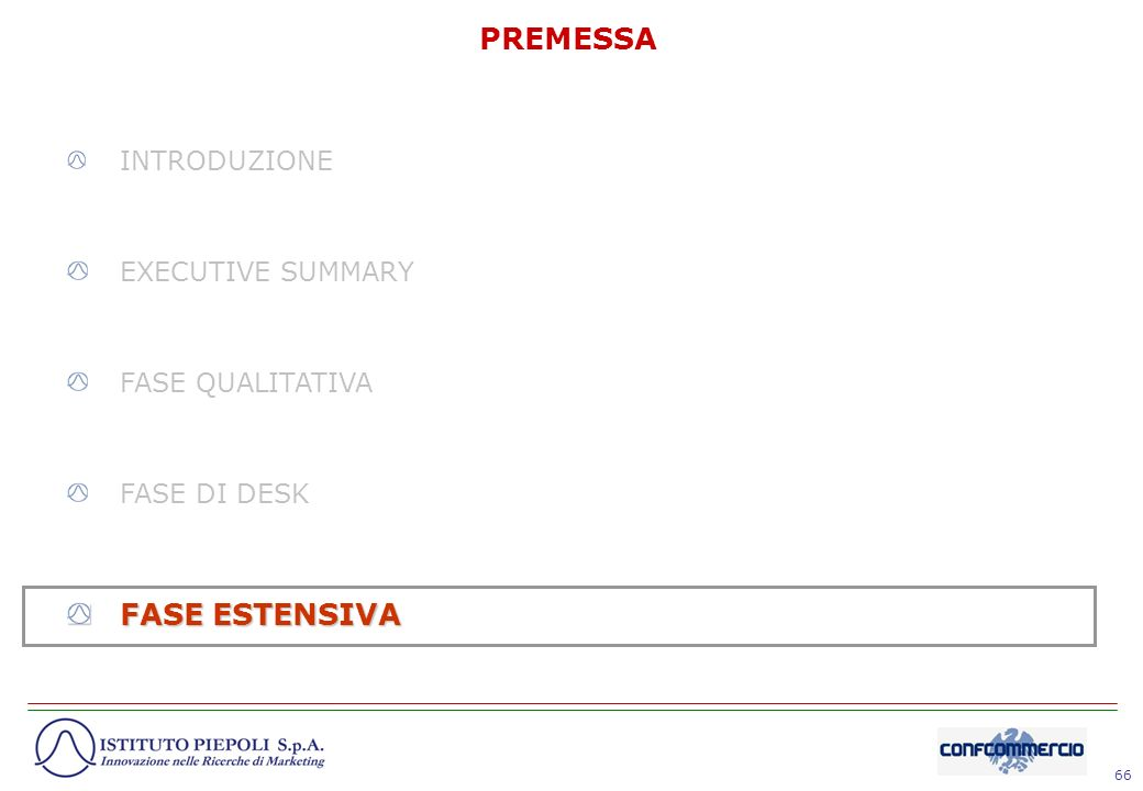 PREMESSA FASE ESTENSIVA INTRODUZIONE EXECUTIVE SUMMARY
