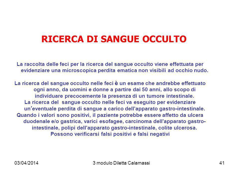 RICERCA DI SANGUE OCCULTO
