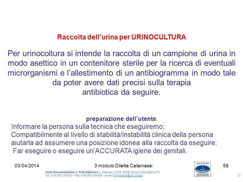 Raccolta dell'urina per URINOCULTURA preparazione dell'utente