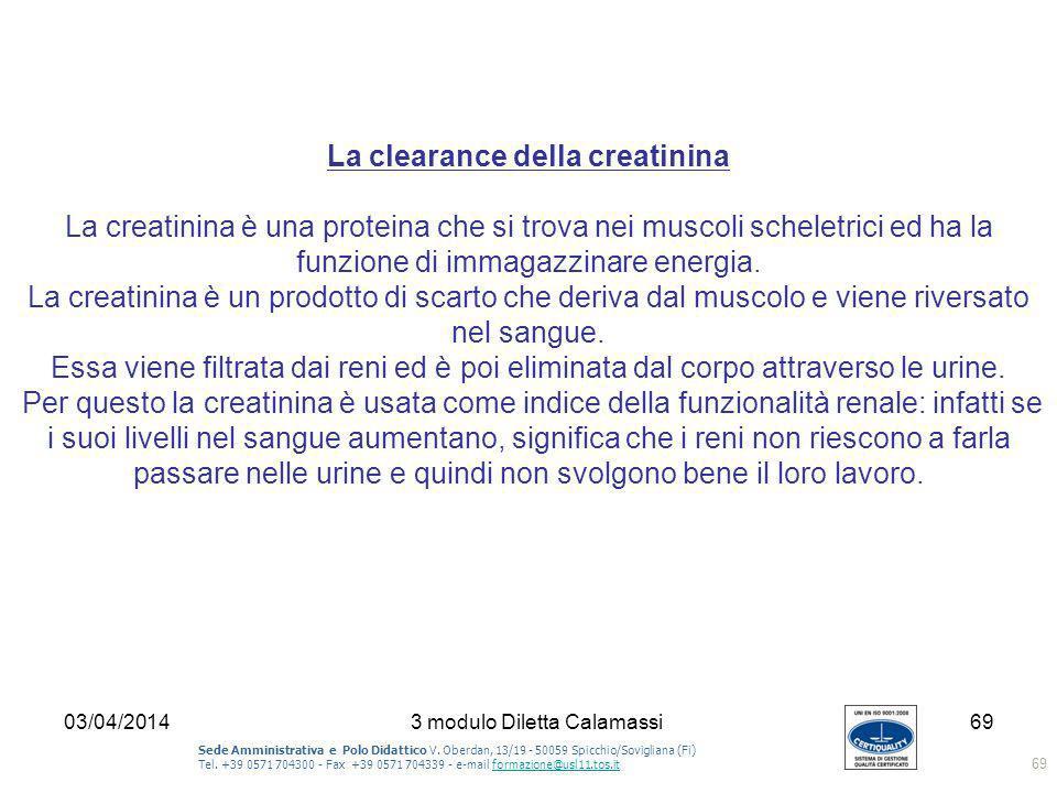 La clearance della creatinina