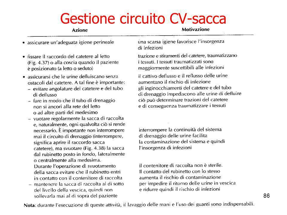 Gestione circuito CV-sacca
