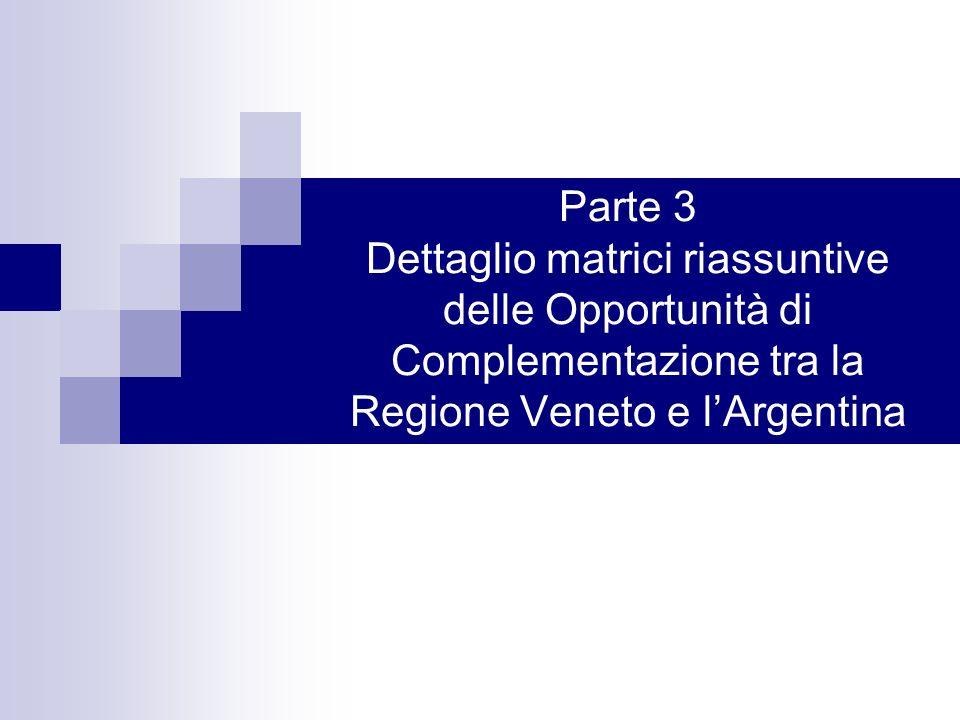Parte 3 Dettaglio matrici riassuntive delle Opportunità di Complementazione tra la Regione Veneto e l'Argentina