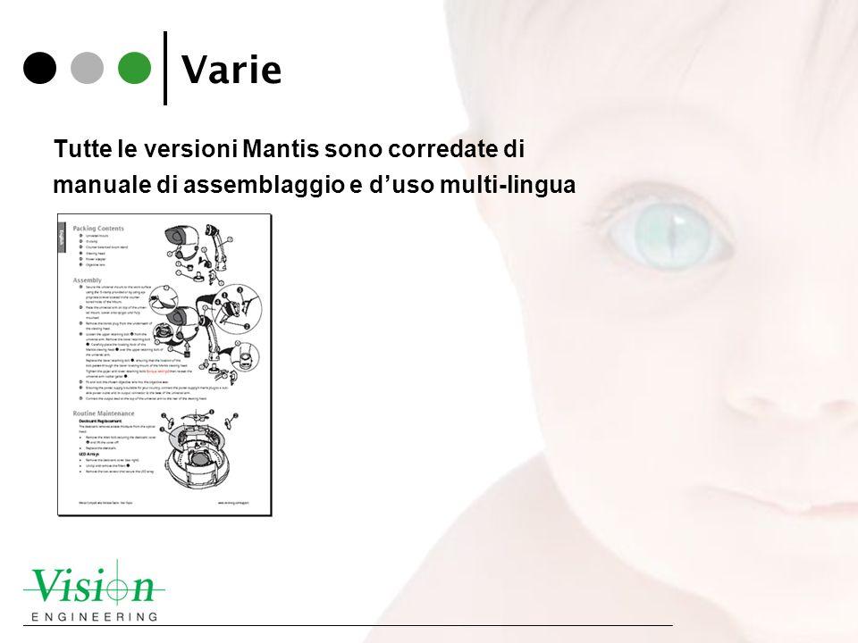 Varie Tutte le versioni Mantis sono corredate di manuale di assemblaggio e d'uso multi-lingua
