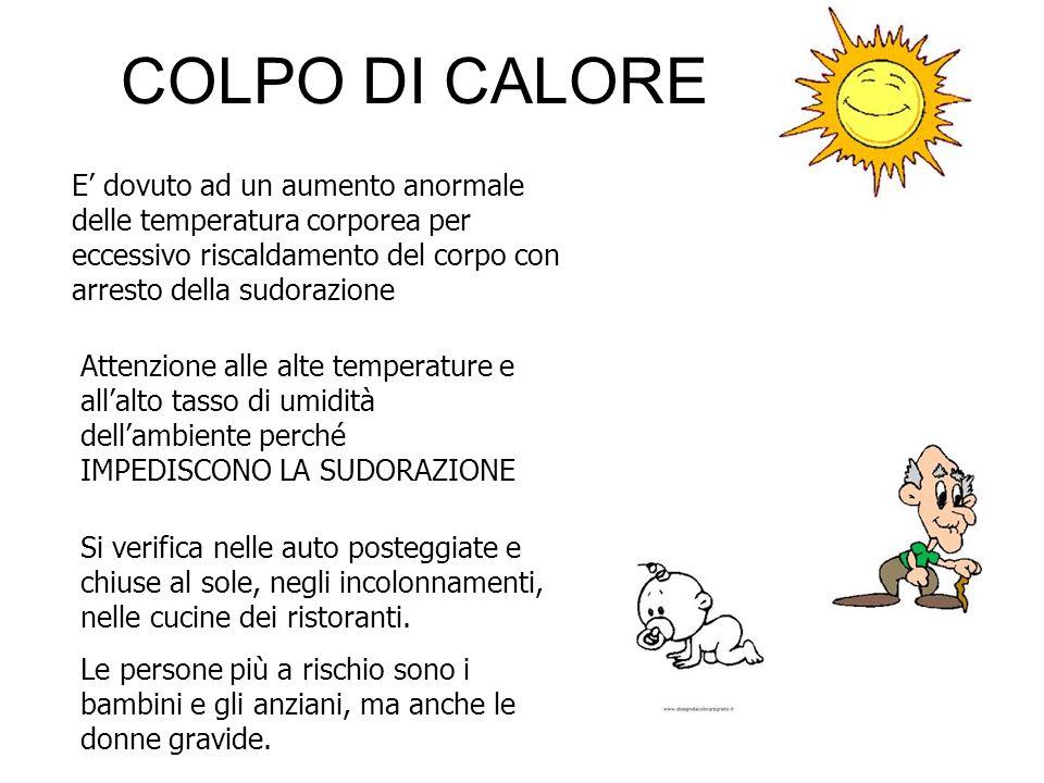 COLPO DI CALORE E' dovuto ad un aumento anormale delle temperatura corporea per eccessivo riscaldamento del corpo con arresto della sudorazione.