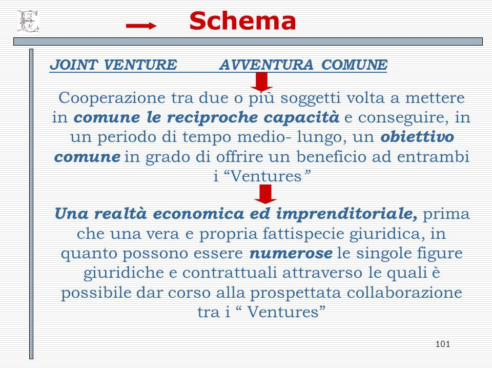 Schema JOINT VENTURE AVVENTURA COMUNE.
