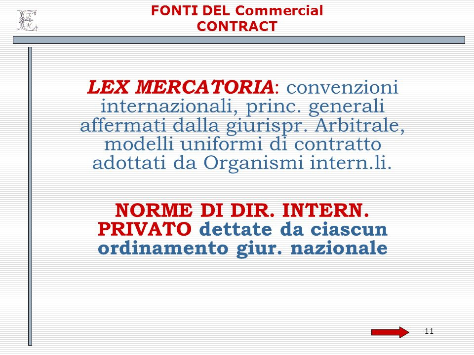 FONTI DEL Commercial CONTRACT