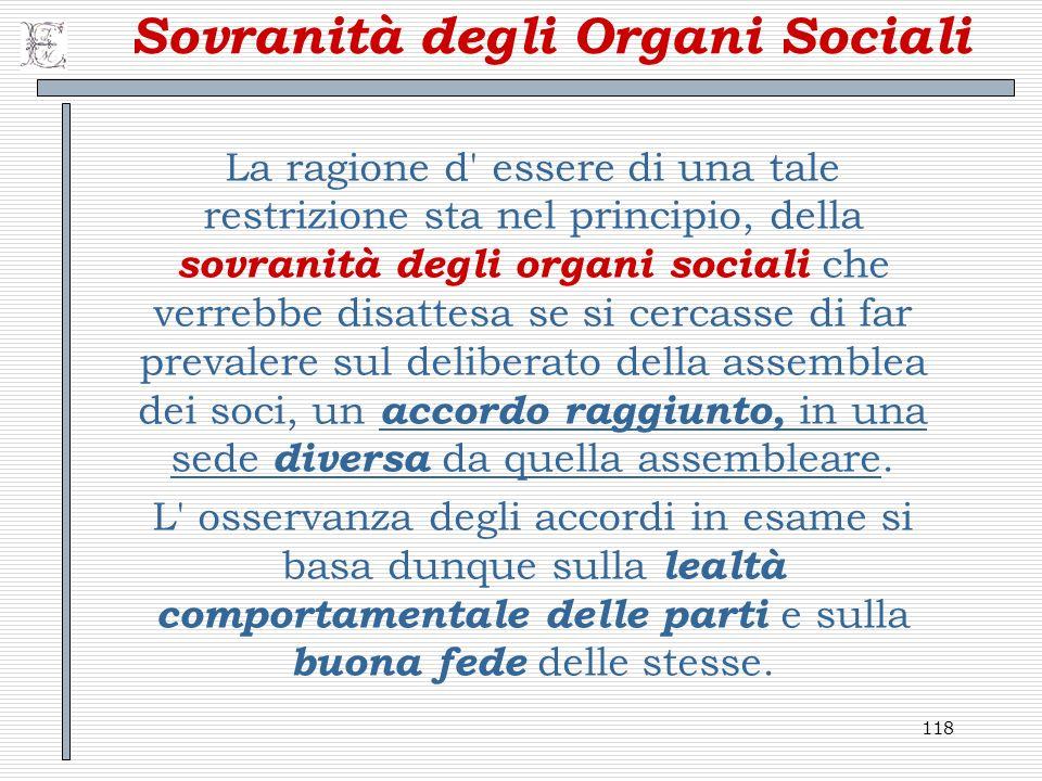 Sovranità degli Organi Sociali