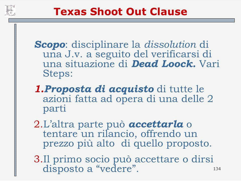 Texas Shoot Out Clause Scopo: disciplinare la dissolution di una J.v. a seguito del verificarsi di una situazione di Dead Loock. Vari Steps: