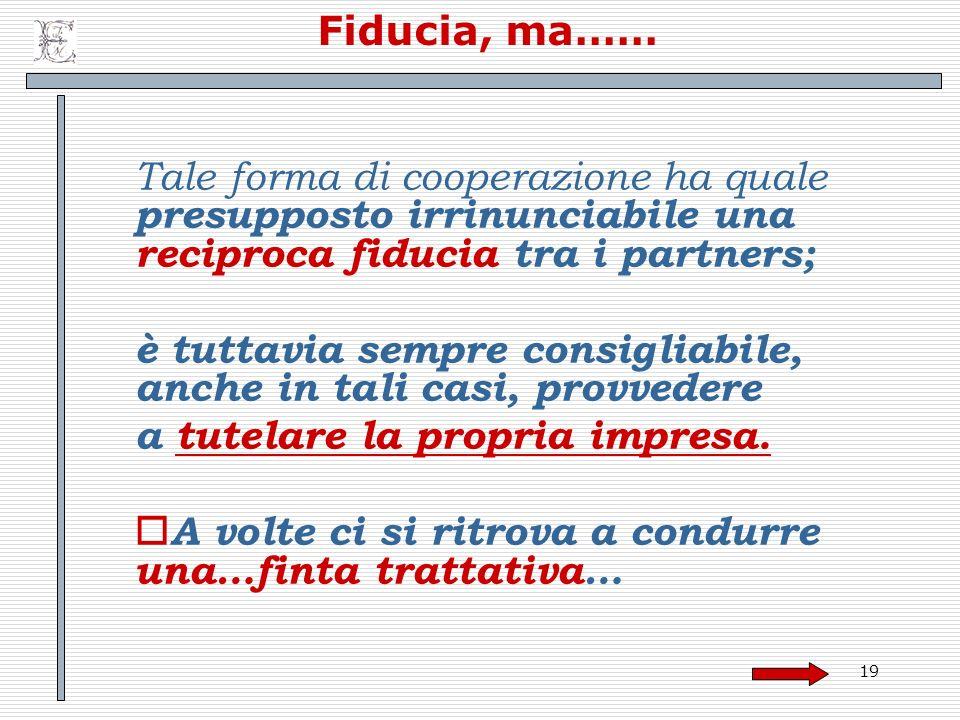 Fiducia, ma…… Tale forma di cooperazione ha quale presupposto irrinunciabile una reciproca fiducia tra i partners;