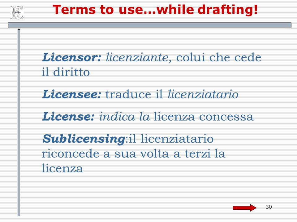 Terms to use…while drafting!