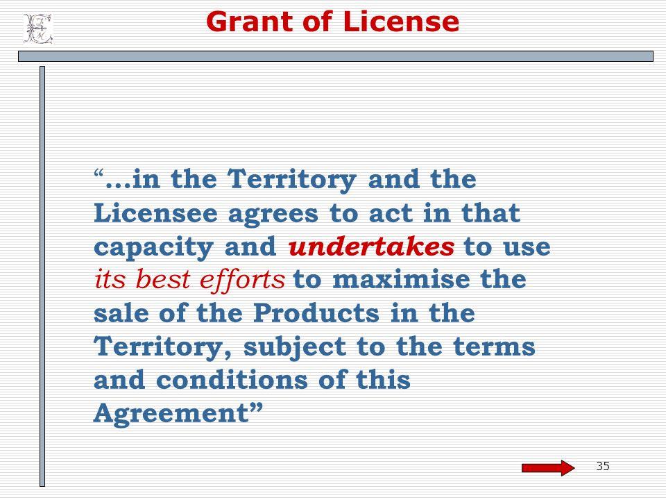 Grant of License