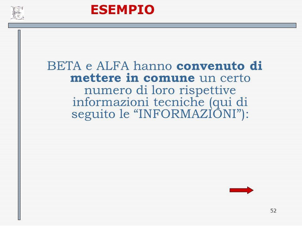 ESEMPIO BETA e ALFA hanno convenuto di mettere in comune un certo numero di loro rispettive informazioni tecniche (qui di seguito le INFORMAZIONI ):