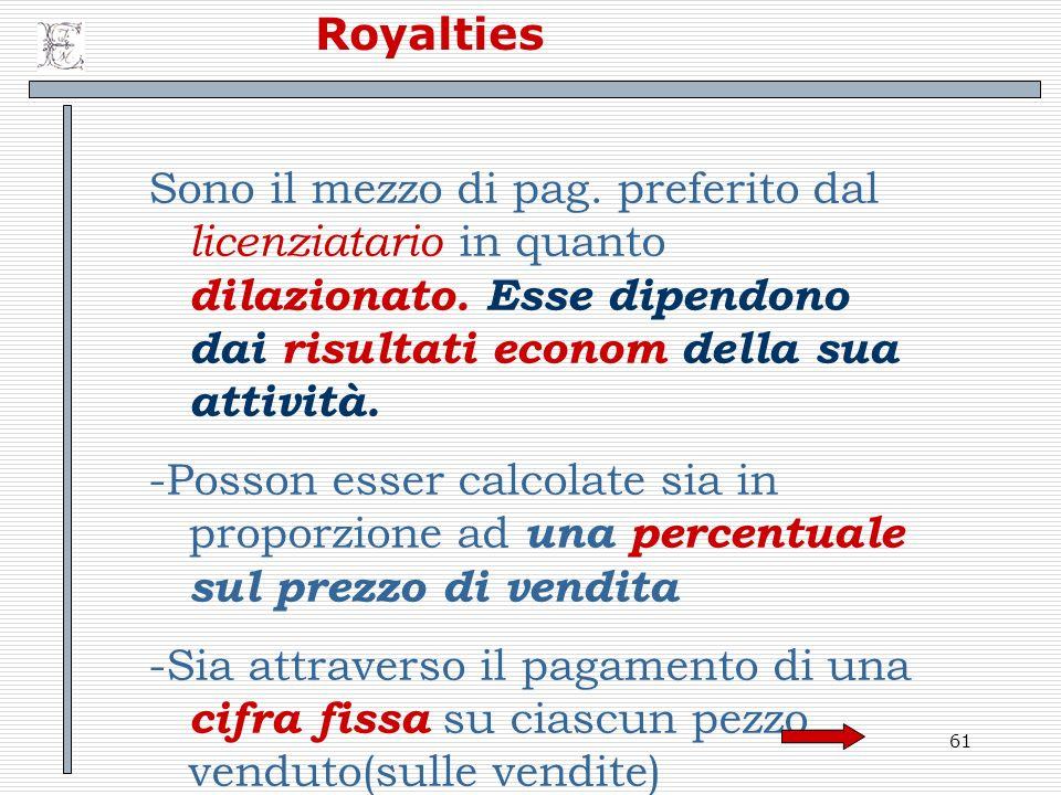 Royalties Sono il mezzo di pag. preferito dal licenziatario in quanto dilazionato. Esse dipendono dai risultati econom della sua attività.