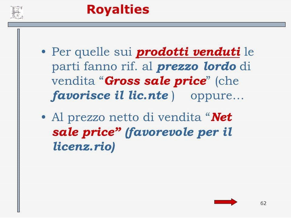Royalties Per quelle sui prodotti venduti le parti fanno rif. al prezzo lordo di vendita Gross sale price (che favorisce il lic.nte ) oppure…