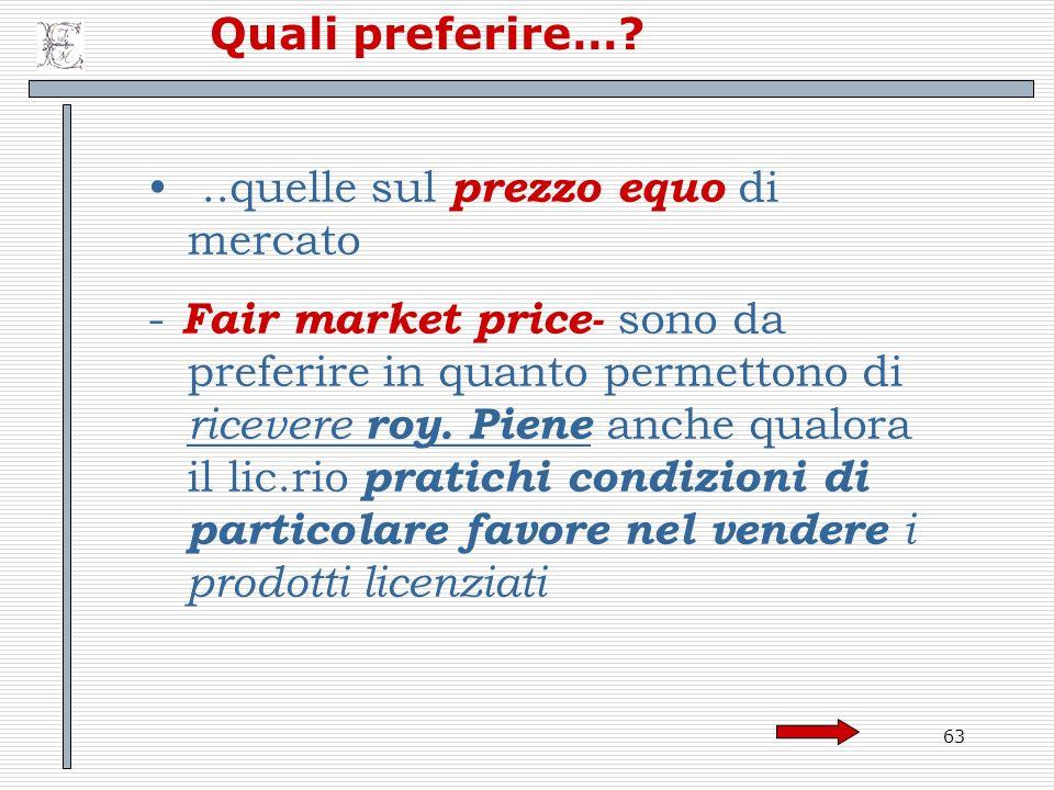 Quali preferire… ..quelle sul prezzo equo di mercato.