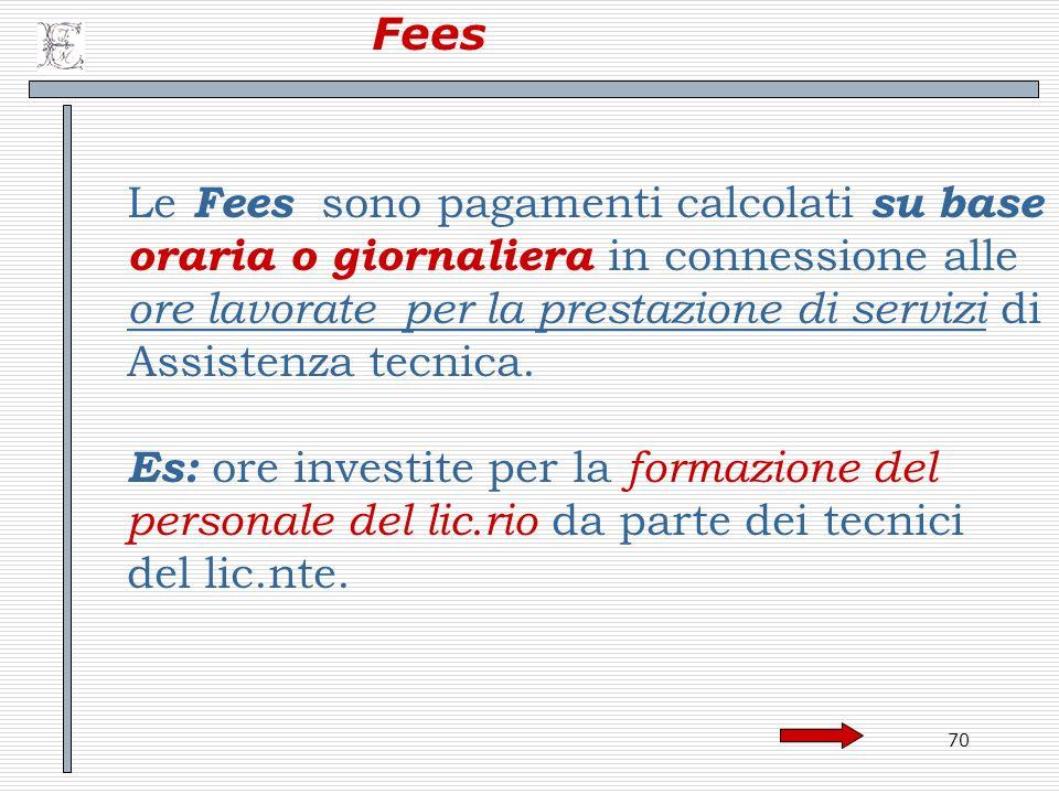 Fees Le Fees sono pagamenti calcolati su base. oraria o giornaliera in connessione alle. ore lavorate per la prestazione di servizi di.