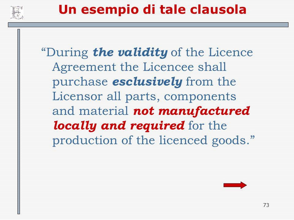 Un esempio di tale clausola
