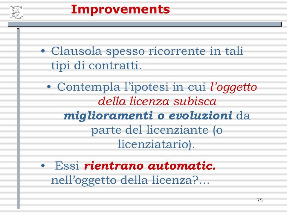 Improvements Clausola spesso ricorrente in tali tipi di contratti.