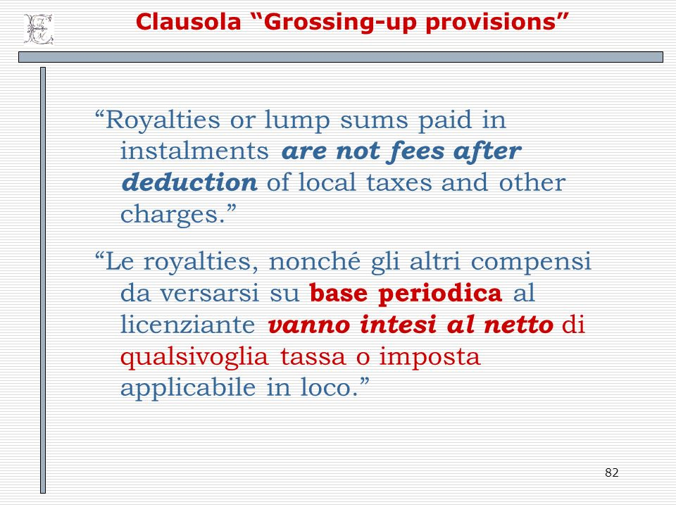 Clausola Grossing-up provisions