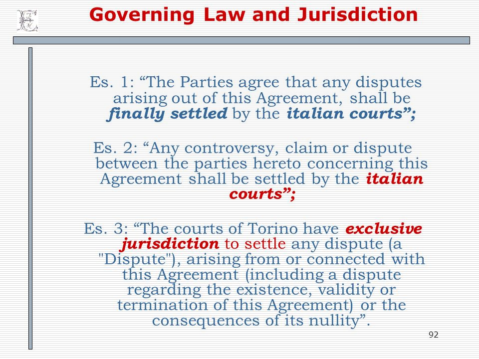 Governing Law and Jurisdiction