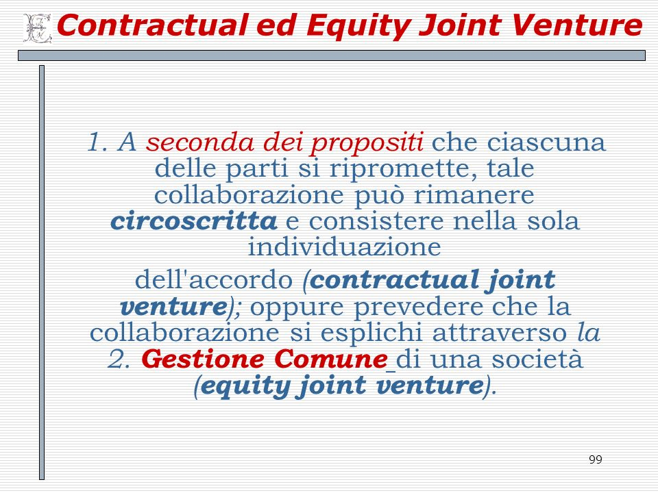 Contractual ed Equity Joint Venture