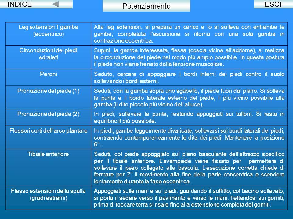 INDICE Potenziamento ESCI Leg extension 1 gamba (eccentrico)