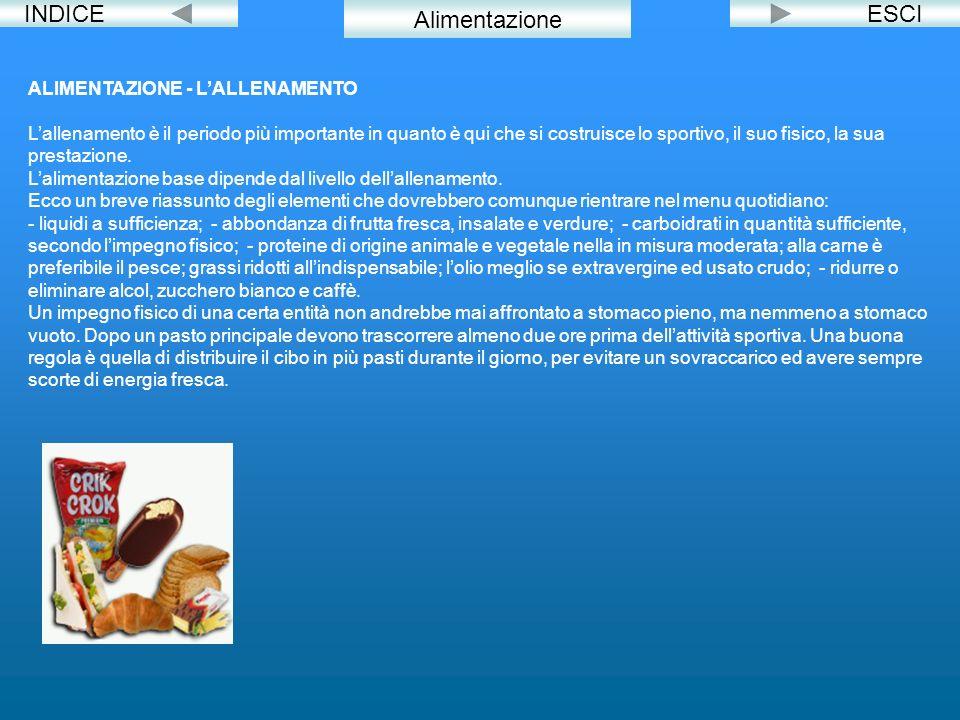 INDICE Alimentazione ESCI ALIMENTAZIONE - L'ALLENAMENTO