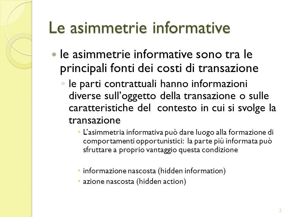 Le asimmetrie informative
