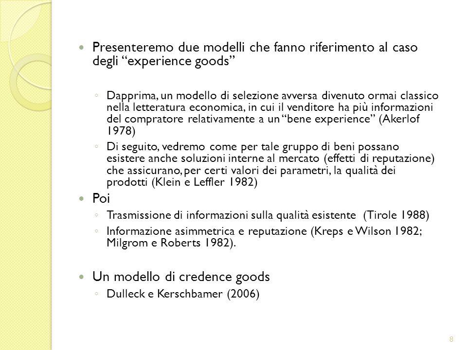 Un modello di credence goods