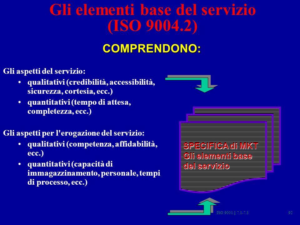 Gli elementi base del servizio (ISO 9004.2)