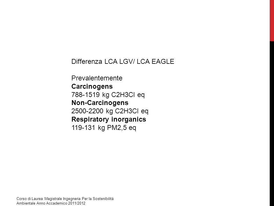 Differenza LCA LGV/ LCA EAGLE Prevalentemente Carcinogens