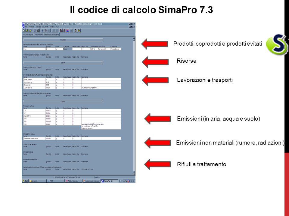 Il codice di calcolo SimaPro 7.3