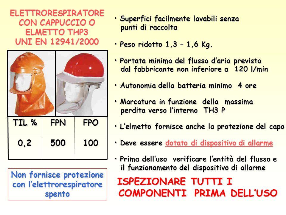 ELETTRORESPIRATORE CON CAPPUCCIO O ELMETTO THP3 UNI EN 12941/2000
