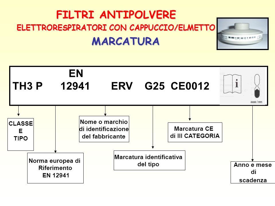 ELETTRORESPIRATORI CON CAPPUCCIO/ELMETTO Marcatura identificativa