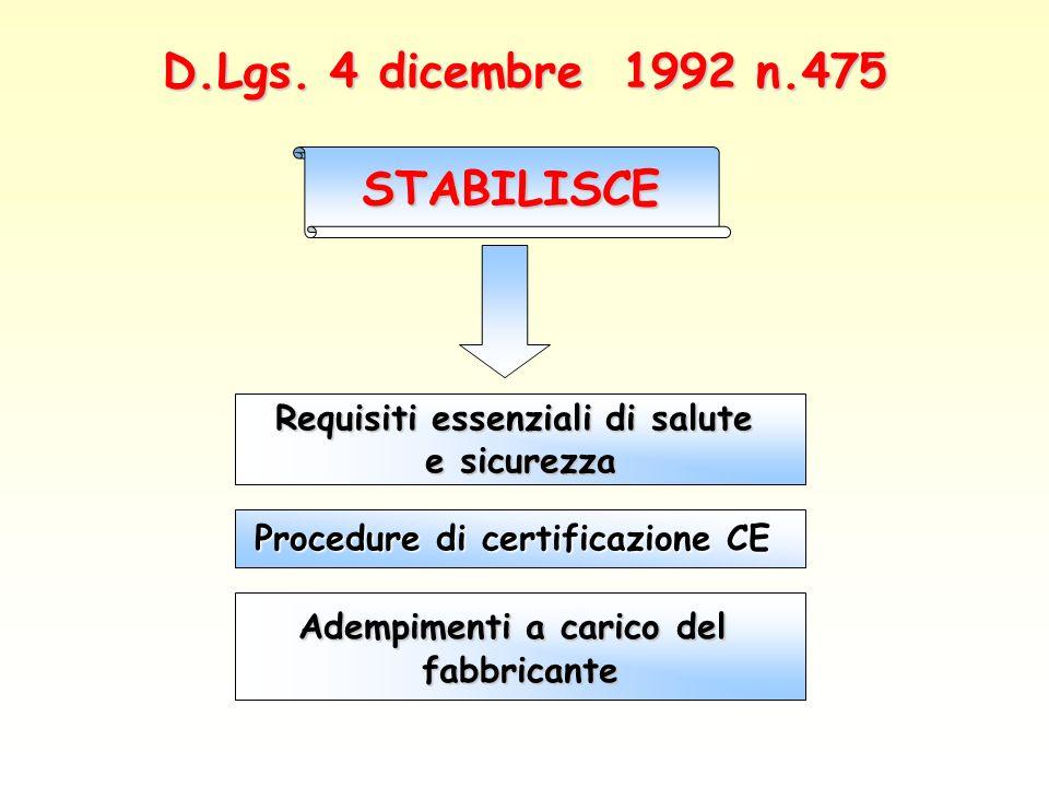STABILISCE D.Lgs. 4 dicembre 1992 n.475