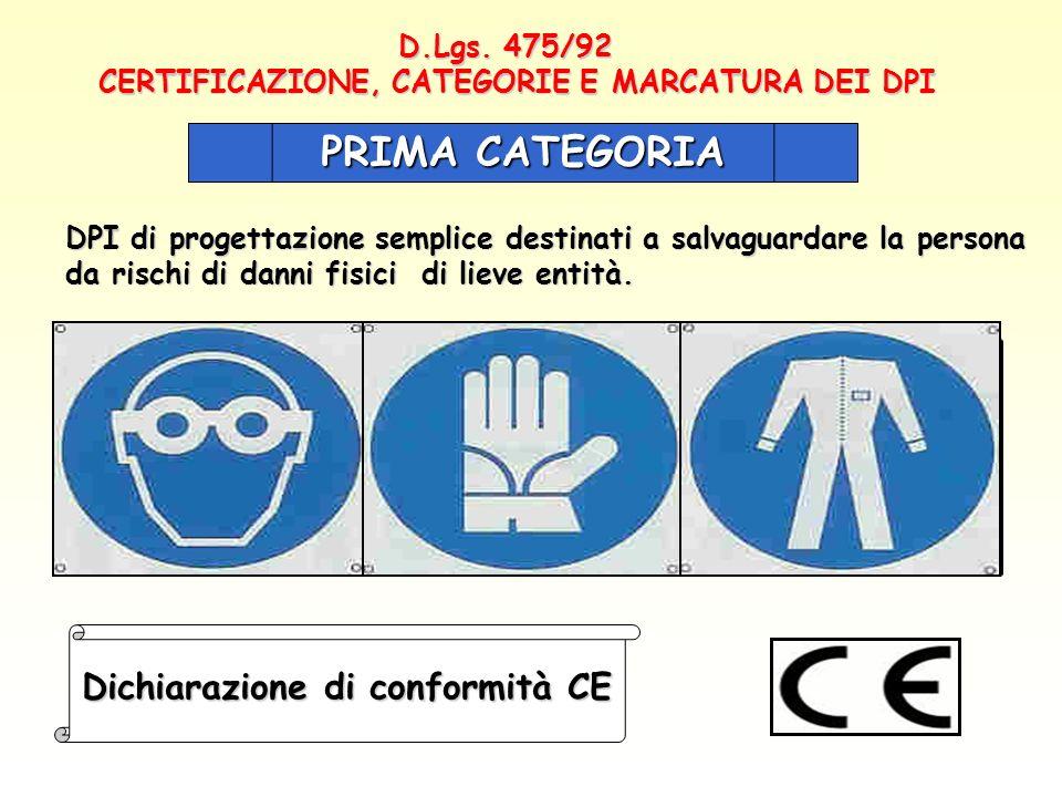 D.Lgs. 475/92 CERTIFICAZIONE, CATEGORIE E MARCATURA DEI DPI