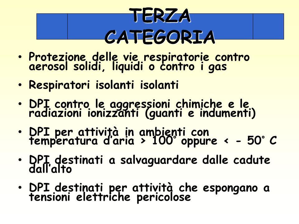 TERZA CATEGORIA Protezione delle vie respiratorie contro aerosol solidi, liquidi o contro i gas. Respiratori isolanti isolanti.