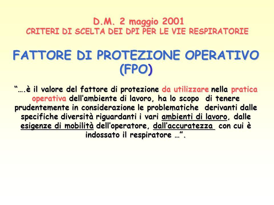 D.M. 2 maggio 2001 CRITERI DI SCELTA DEI DPI PER LE VIE RESPIRATORIE
