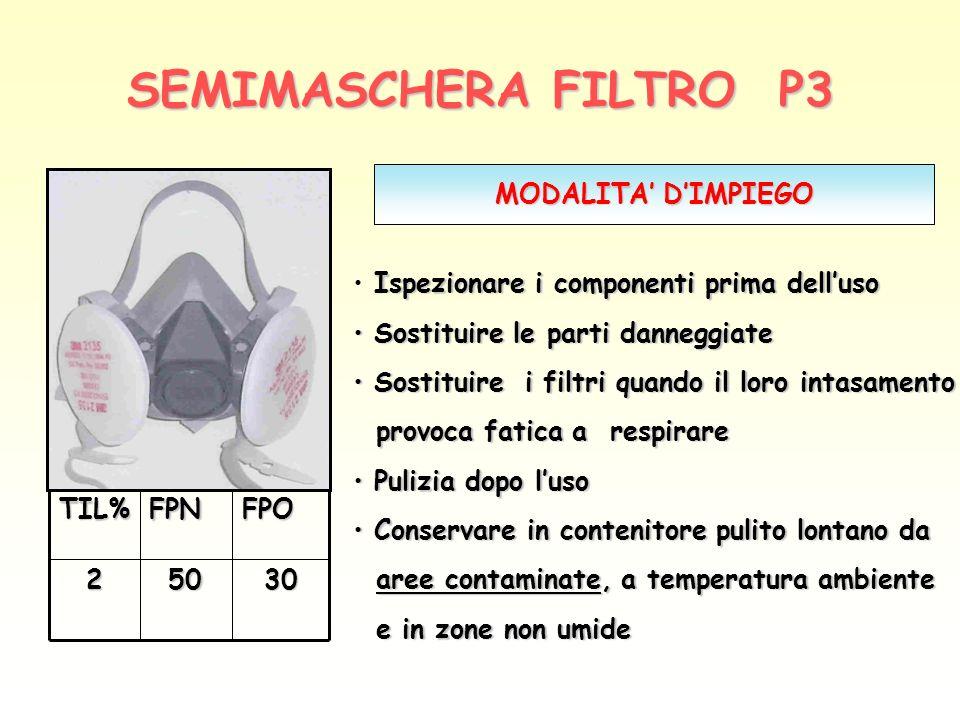 SEMIMASCHERA FILTRO P3 MODALITA' D'IMPIEGO