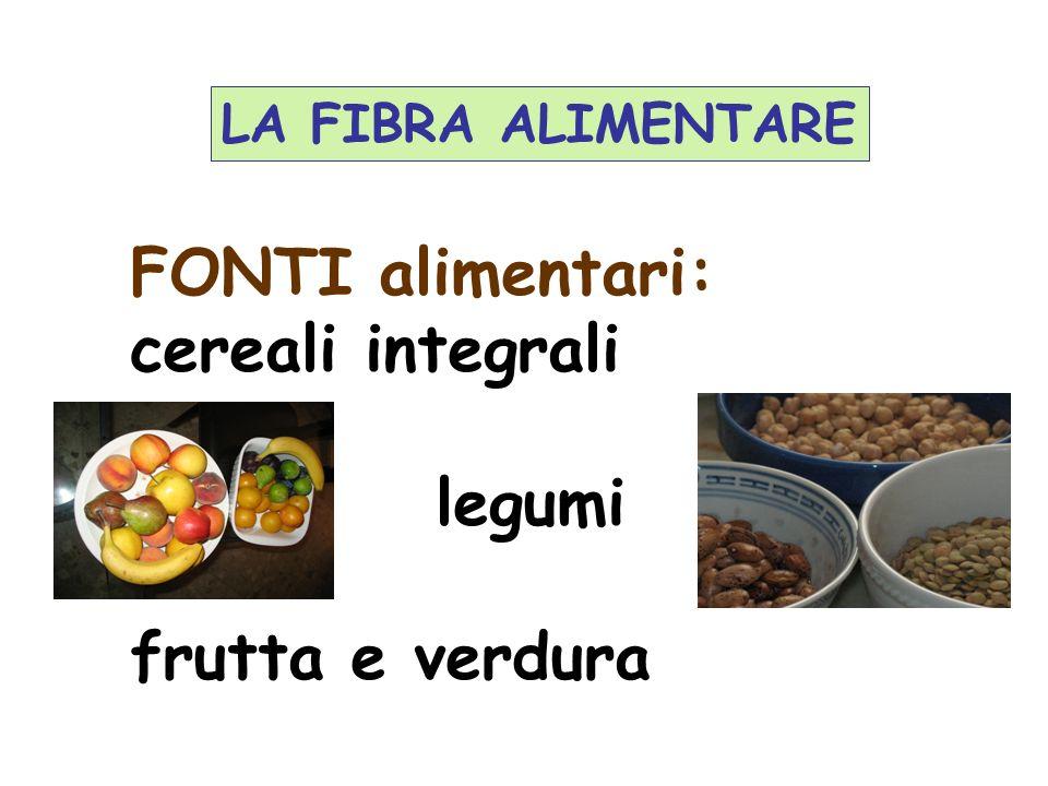FONTI alimentari: cereali integrali legumi frutta e verdura