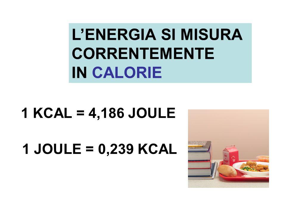 L'ENERGIA SI MISURA CORRENTEMENTE IN CALORIE 1 KCAL = 4,186 JOULE
