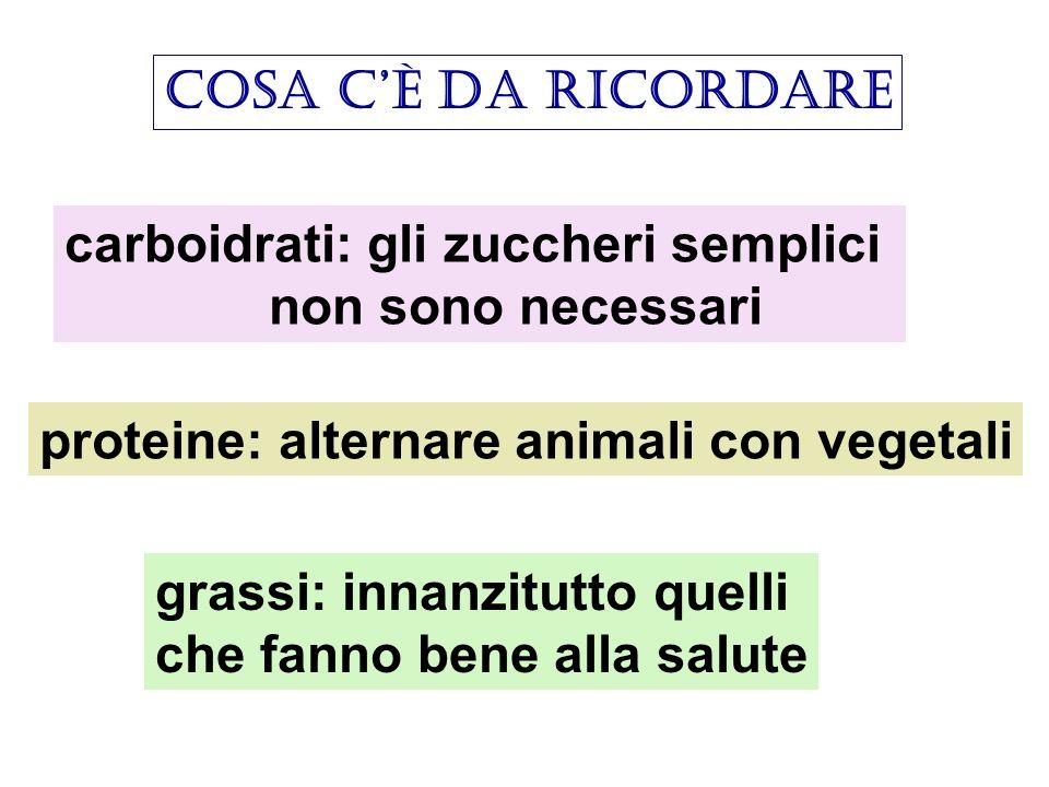 cosa c'è da ricordare carboidrati: gli zuccheri semplici. non sono necessari. proteine: alternare animali con vegetali.