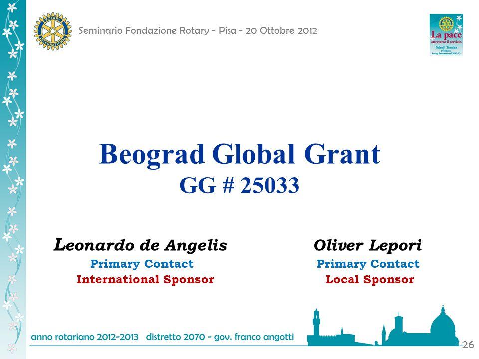 Beograd Global Grant GG # 25033 Leonardo de Angelis Oliver Lepori
