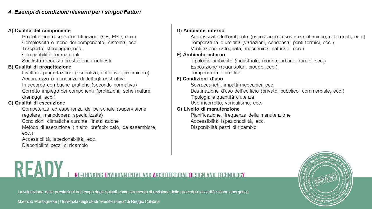 4. Esempi di condizioni rilevanti per i singoli Fattori