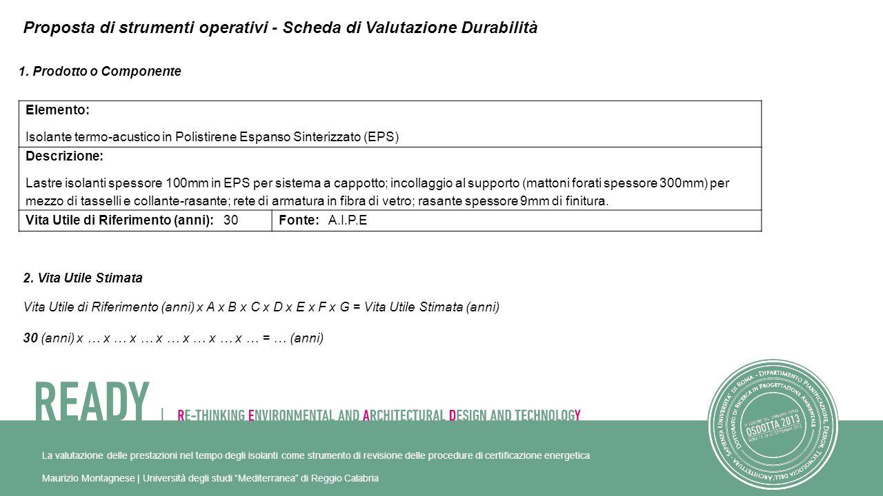 Proposta di strumenti operativi - Scheda di Valutazione Durabilità