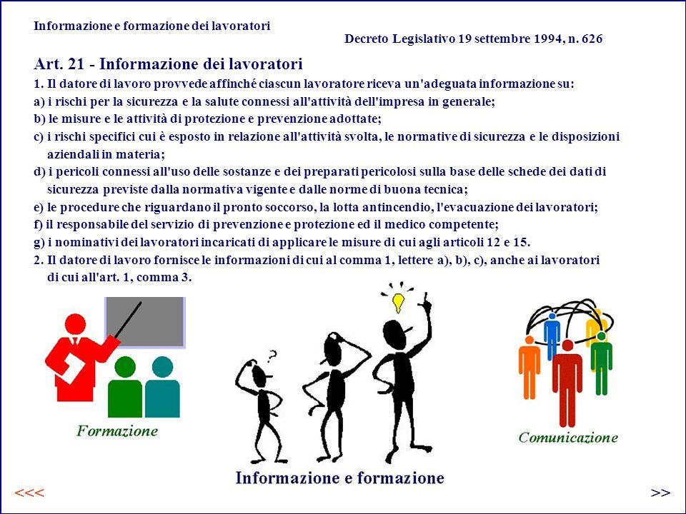 Informazione e formazione dei lavoratori