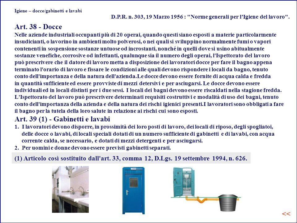 Igiene – docce/gabinetti e lavabi