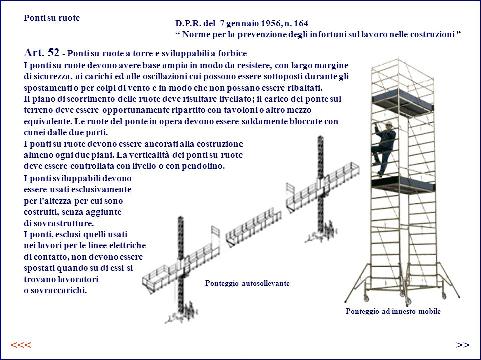 Art. 52 - Ponti su ruote a torre e sviluppabili a forbice